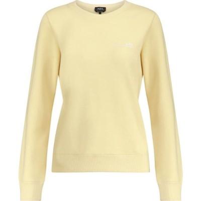 アーペーセー A.P.C. レディース スウェット・トレーナー トップス logo cotton jersey sweatshirt Jaune Clair