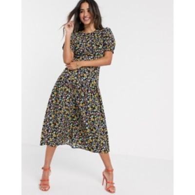エイソス レディース ワンピース トップス ASOS DESIGN midi tea dress with dropped waist in floral print Dark based floral