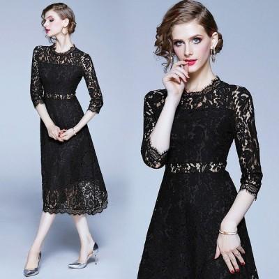 黒レースワンピース 結婚式ドレス お呼ばれ ロングレースドレス 黒 オシャレドレスワンピース パーティードレス ミモレ丈