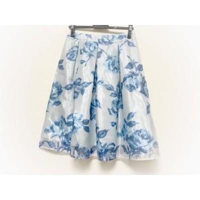 エムズグレイシー M'S GRACY スカート サイズ40 M レディース 美品 ライトブルー×ブルー 花柄【中古】20200728