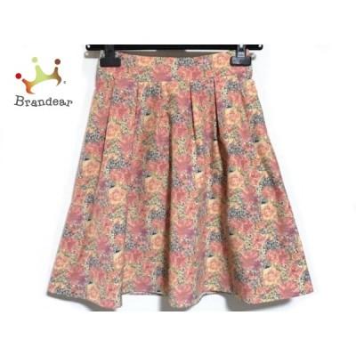 アナトリエ anatelier スカート サイズ36 S レディース 美品 ピンク×ネイビー×マルチ 花柄 新着 20200618