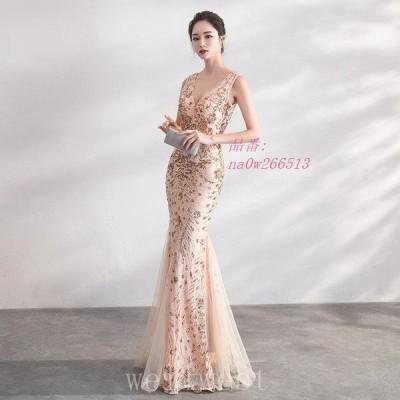 マーメイドドレス黒ロングパーティードレスVネックノースリーブ二次会赤お呼ばれドレススパンコール金色イブニングドレス