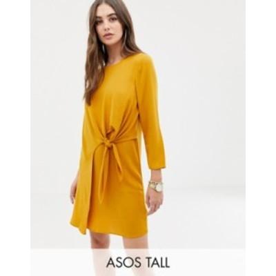 エイソス レディース ワンピース トップス ASOS DESIGN Tall knot front mini shift dress Ochre