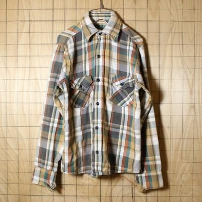 USA製古着 ベージュ×ホワイト×オレンジ チェックネルシャツ メンズS相当
