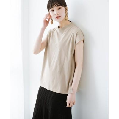 【ハコ】 迷ったらコレ!でおしゃれに見える いくつあっても便利な定番ハイネックTシャツ レディース ライト ベージュ LL haco!