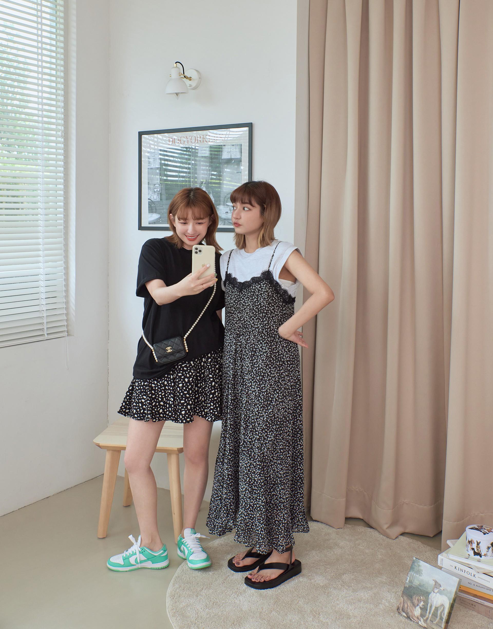 夏日小清新蕾絲碎花洋裝-PAZZO