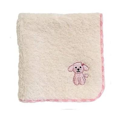 無撚糸パイルのハンドタオル かわいいワンちゃん刺繍付き (ピンクプードル)