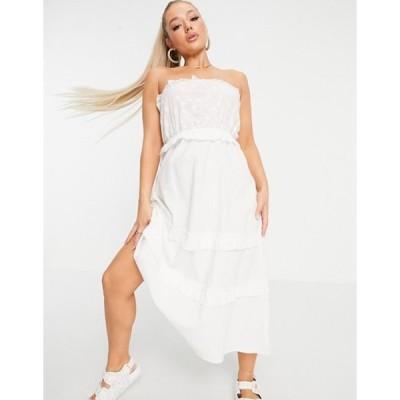 パリジャン レディース ワンピース トップス Parisian tiered midi dress in white