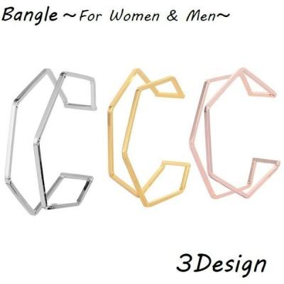 バングル ブレスレット レディース メンズ 男女兼用 ユニセックス アクセサリー 変形デザイン 不規則 イレギュラー 幾何学的 重ね付け風 シンプル