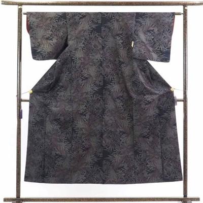 リサイクル着物 紬 正絹黒地五マルキ袷大島紬着物