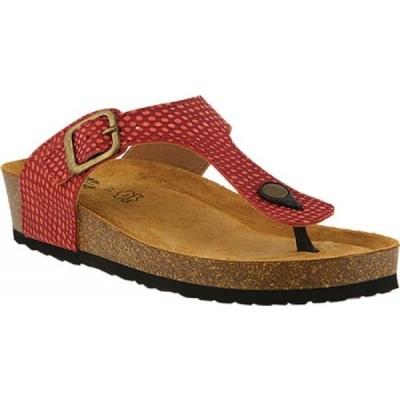 スプリングステップ Spring Step レディース ビーチサンダル トングサンダル シューズ・靴 Estelle Thong Sandal Red Leather