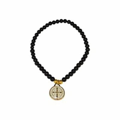 ブレスレット Pulsera De San Benito、Saint Benedictブレスレットwith AttachedホワイトMedal (ブラック)