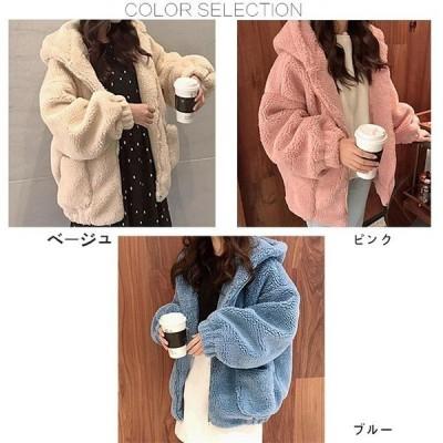 ファー豪華シルエット綺麗ダウンアウターダウンジャケットファーコートレディース毛皮コートフードつきふわふわ暖かいもこもこ