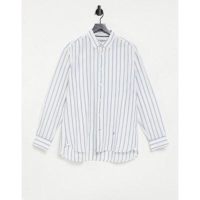 ペペジーンズ Pepe Jeans メンズ シャツ トップス Alfred Stripe Long Sleeve Shirt ブルー
