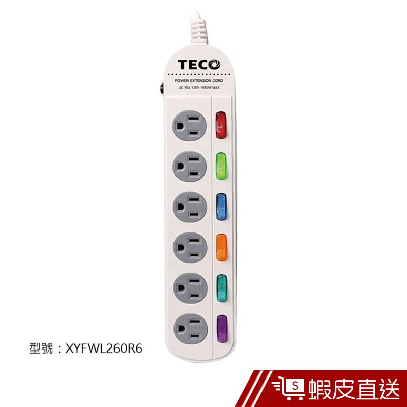 TECO 六開六插轉接電源線組 6切6座 插線版 耐熱防火 過載保護 過載保護 延長線插座 插座延長線