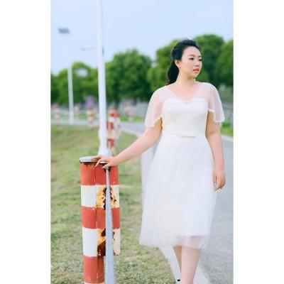 大きいサイズショートカラードレス【ミモレ丈ドレス】ウェディングドレス/ウエディングドレス/ブライズメイドドレス/パーティードレス/編み上げタイプ/fhd18