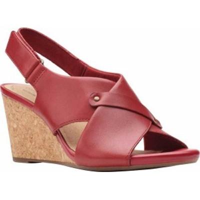 クラークス レディース サンダル シューズ Women's Clarks Margee Eve Wedge Slingback Sandal Red Leather