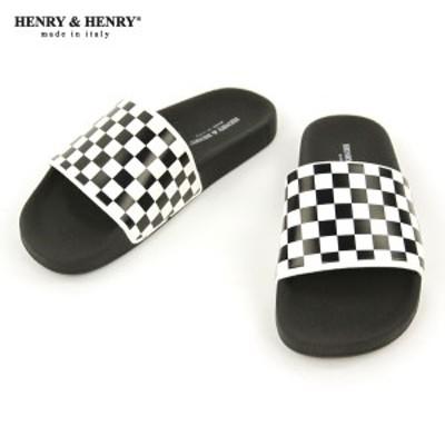 ヘンリーアンドヘンリー HENRY&HENRY 正規販売店 サンダル シャワーサンダル 180 CHECKER SANDAL BIANCO BLACK WHITE BLACK SOLE