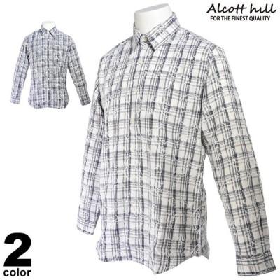 SALE 30%OFF アルコットヒル ALCOTT HILL 長袖シャツ メンズ 秋冬 刺繍 チェック 95-1001-10