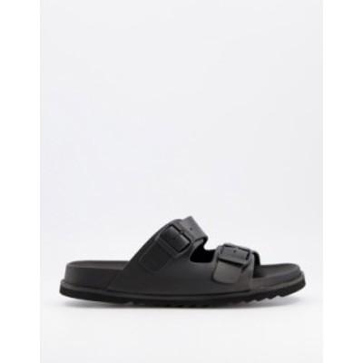 エイソス メンズ サンダル シューズ ASOS DESIGN sandal in black rubber with buckle Black