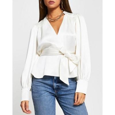 リバーアイランド レディース シャツ トップス River Island smudge print wrap blouse in ivory