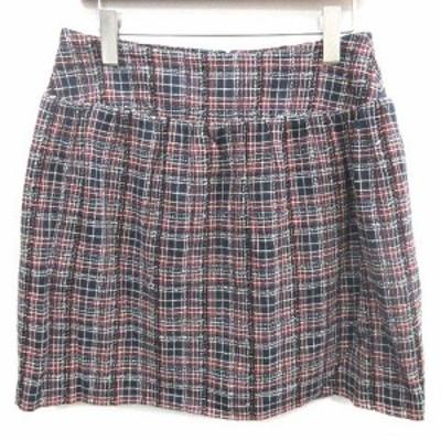 【中古】ラ トータリテ La TOTALITE スカート 膝丈 台形 ツイード シルク混 40 L 紺 ネイビー 赤 レッド 白 ホワイト