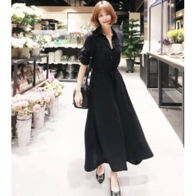 シャツワンピース ロング 大きいサイズ 長袖 韓国 ファッション マキシ丈 フレア 大きいサイズ フレア スリット きれいめ 上品 大人可愛