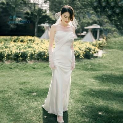 ウェディングドレス ウエディングドレス白 パーティー ビスチェタイプ 花嫁ロングドレス 結婚式 マーメイドトレーン 挙式 お呼ばれ 二次会 フォームドレス
