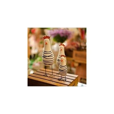 おしゃれで かわいい マリン風 木製 オブジェ ニワトリの 親子 ウッディな 置物 3体セット