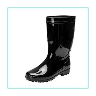 【新品】Comwarm Men's Mid-Calf Rain Boots Waterproof Anti-Slip Black PVC Adult Outdoor Work Rubber Boots BK43(並行輸入品)