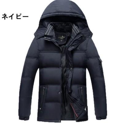 ダウンジャケットメンズ中綿ジャケットおしゃれブランド無地柄黒フードジャケットアウター大きいサイズ秋冬14240代50代
