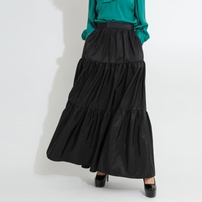 ゲス GUESS Flossie Satin Flare Skirt (JET BLACK)