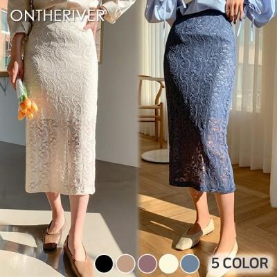 フラワーレースロングスカート。5色 / フラワーパターンでロマンティックなムード演出~ [ontheriver] 送料0円! 大人可愛いデイリールック。韓国ファッションNo.1