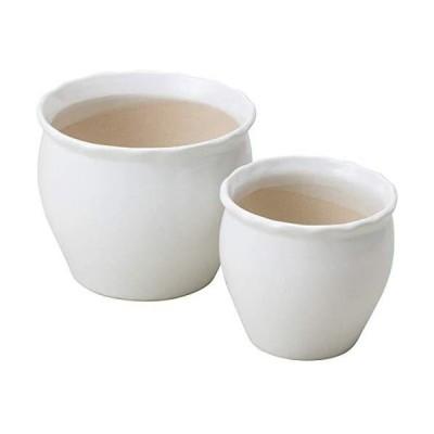 陶器植木鉢2点セット ホワイト
