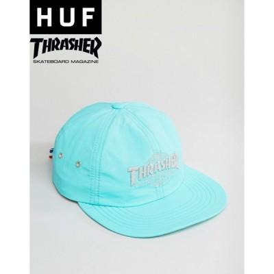 ハフ スラッシャー コラボ キャップ メンズ グリーン 緑 HUF  Thrasher Reflective Logo Cap GREEN