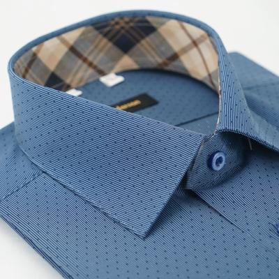 【金‧安德森】經典格紋繞領深藍細紋吸排短袖襯衫