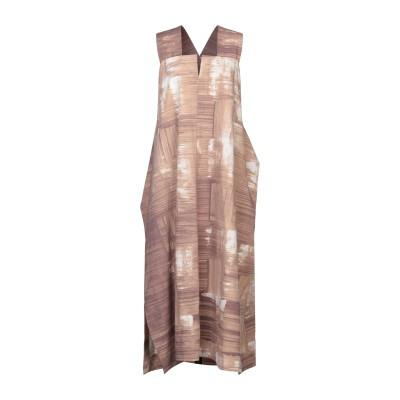 イッセイ ミヤケ ISSEY MIYAKE ロングワンピース&ドレス サンド 2 ポリエステル 50% / コットン 50% ロングワンピース&ドレス