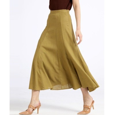 スカート マーメイドラインリネン混ロングスカート
