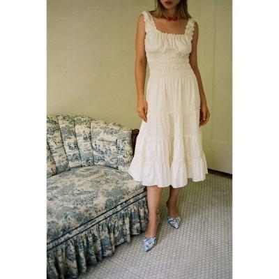 リサ セイ ガウ Lisa Says Gah レディース ワンピース ミドル丈 ワンピース・ドレス agatha smocked midi dress Ivory