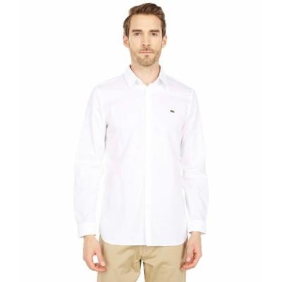 ラコステ シャツ トップス メンズ Slim Fit Casual Solid Extensible Popeline Shirt White