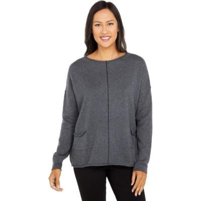 エリオットローレン Elliott Lauren レディース ニット・セーター トップス Cotton Cashmere Sweater with Center Contrast Stripe Detail Flannel