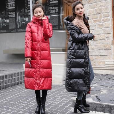 初春セール 中綿ロング丈コート 中綿コートレディース 中棉アウター 大人 大きいサイズ 暖かい フード付き ダウン ダウン綿コート ロングコート 着痩せ