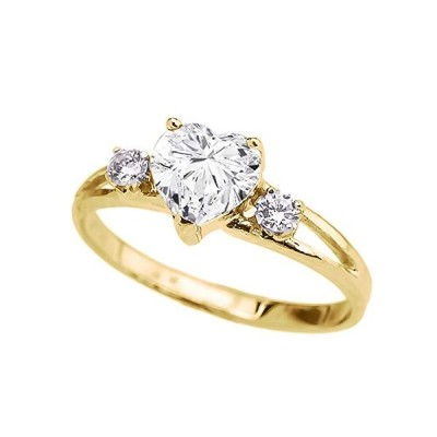 Precious 10k Yellow Gold CZ Heart Proposal/Promise Ring with White Top