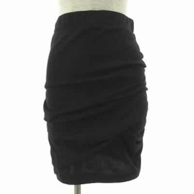 【中古】ジャスグリッティー JUSGLITTY スカート ひざ丈 タイト シャーリング ストレッチ ブラック 黒 2 レディース