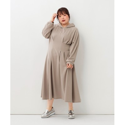 大きいサイズ ウエストタックデザインフーディワンピース(Instagram LIVE着用商品) ,スマイルランド, ワンピース, plus size dress