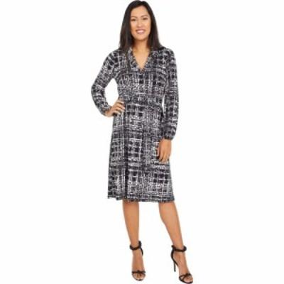 ロンドンタイムス London Times レディース ワンピース ワンピース・ドレス Textured Plaid Long Sleeve Dress Grey/Black
