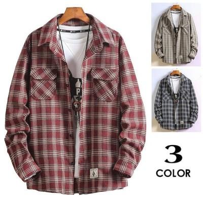 チェックシャツ メンズ ネルシャツ おしゃれ 長袖 長袖シャツ チェック カジュアルシャツ 春服 開襟シャツ シャツ