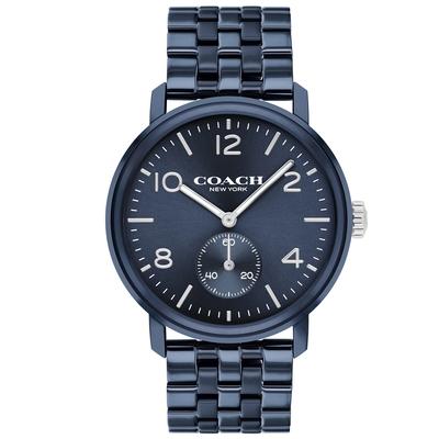 COACH 小秒圈時尚手錶-42mm/藍(14602535)