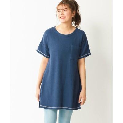 【大きいサイズ】 (LOHASY COT)サーマル配色ステッチゆったり袖チュニック plus size tops, テレワーク, 在宅, リモート