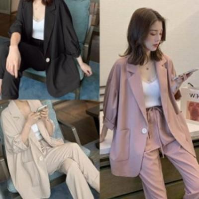 ジャケット セットアップ レディース パンツ テーラードジャケット 韓国 ファッション レディース 夏服 レディース 夏 セットアップ パン
